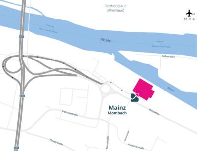 Neubau Mainz FOUR PARX Hafen und Containerumschlagsfläche und direkte Autobahnanbindung
